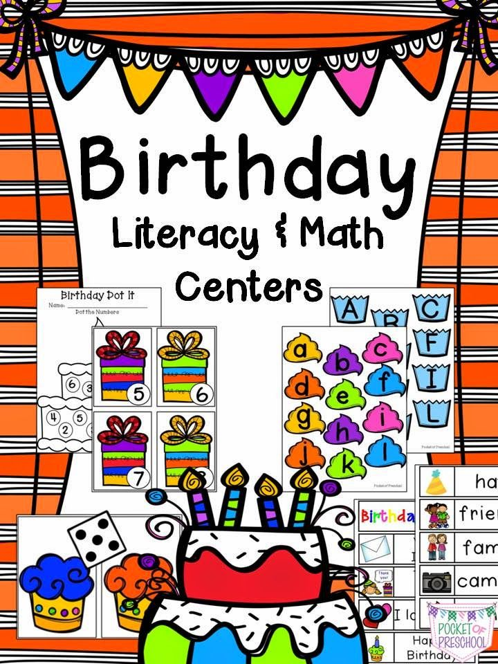 birthday literacy and math activities for preschool pre k and kindergarten pocket of. Black Bedroom Furniture Sets. Home Design Ideas