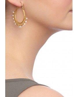 Red Agate Ornate Hoop Earrings
