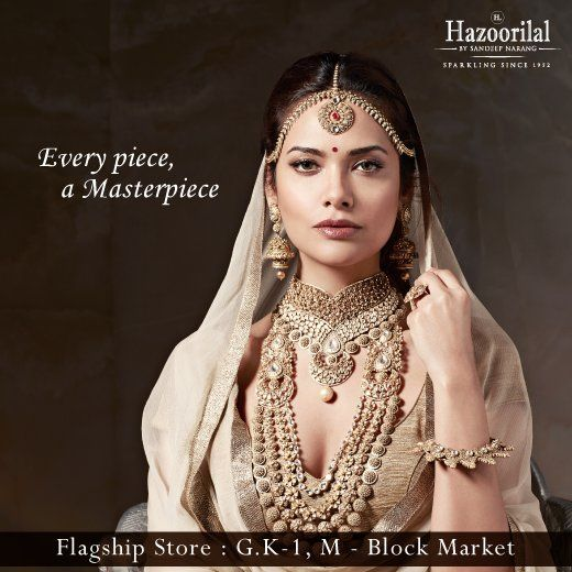 Our vibrant, talented and stylish brand ambassador Esha Gupta styles up the masterpieces of Hazoorilal By Sandeep Narang. Explore the collection here. #EveryPieceAMasterpiece