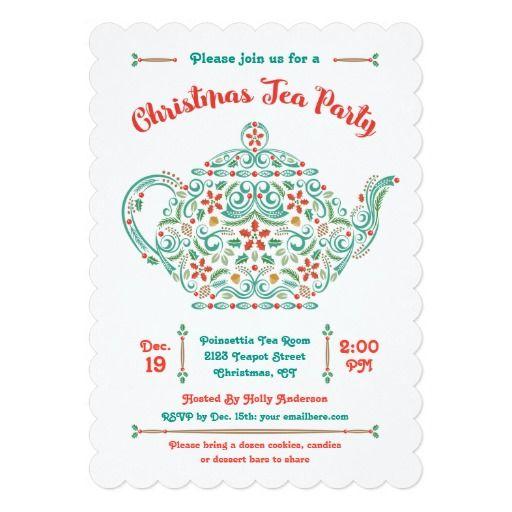 27 best high tea fundraiser images on pinterest tea time the tea charming teapot christmas tea party invitation stopboris Gallery