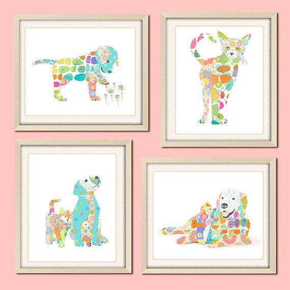 Baby girl Nursery Art baby animal art cat art colorful Nursery
