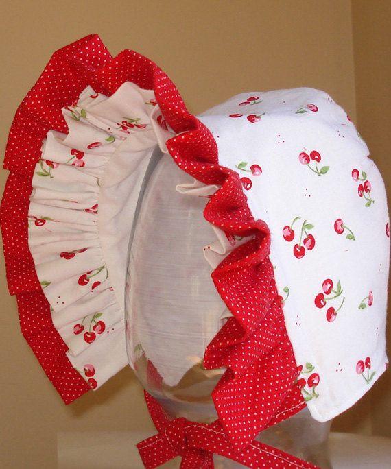 Baby Bonnet Cherry Red Summer Bonnet Baby Hat by MaryandEllen, $22.00