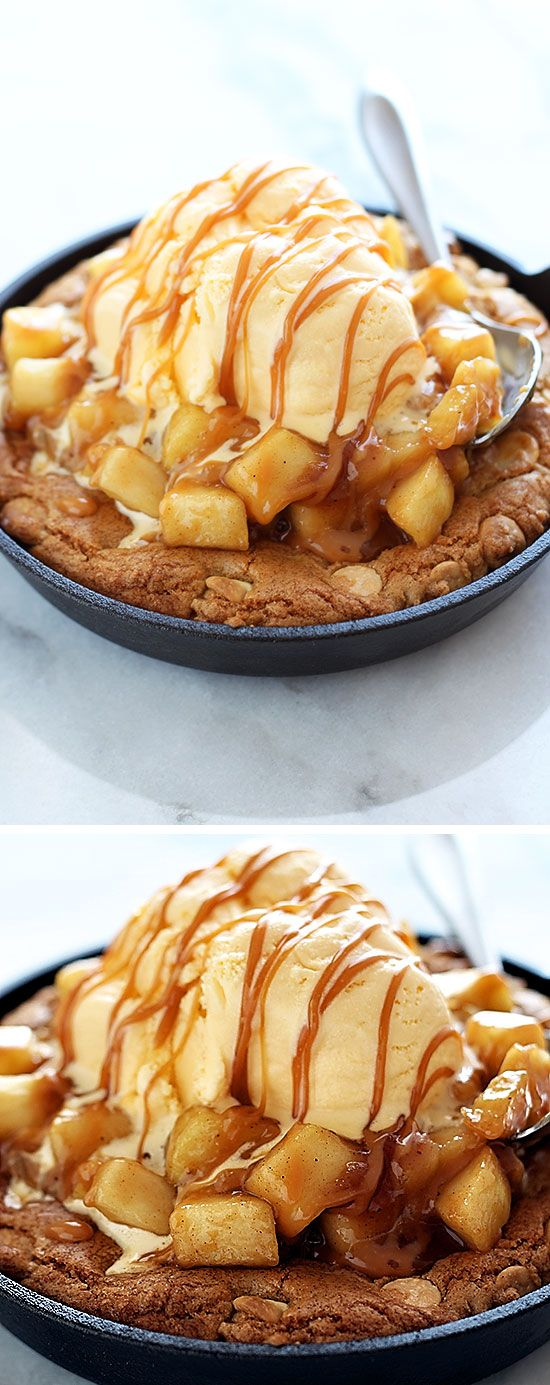 Salted Caramel Apple Pie Pizza Cookie - holy YUM.