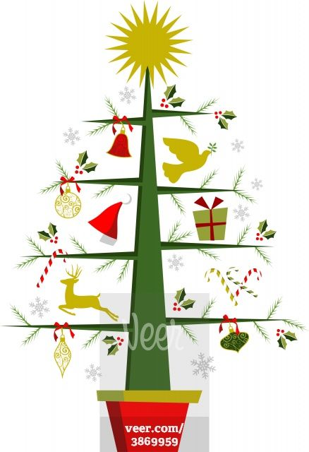 Christmas Tree With Symbols And Decorations Stock