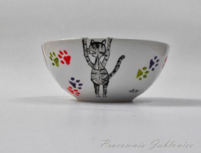 Jesienne inspiracje, miska w koty i wiaderko