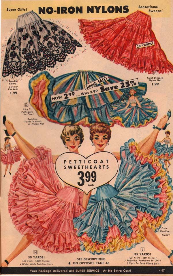 Loved, loved, loved these petticoats in the 1950s. I was a small child, but I copied my sister!