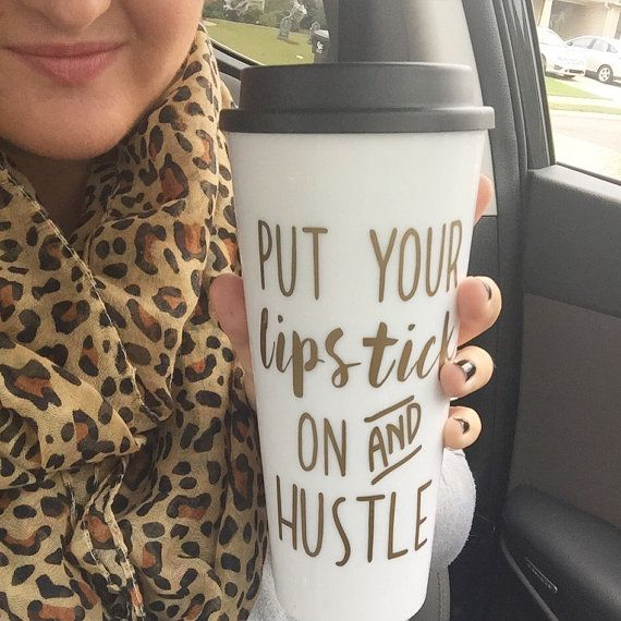 Hustle travel mug by DarlinDecorbyRebecca on Etsy