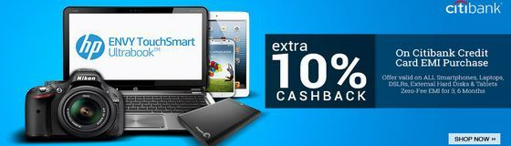 Flipkart Offer Extra 10% CashBack on Citibank Card EMI Purchase + Zero Fee: Buy Laptops, Cameras, Smartphones, Tablets etc