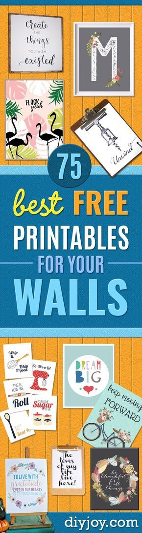 Best Free Printables For Your Walls - Free Prints for Wall Art and Picture to Print for Home and Bedroom Decor - Crafts to Make and Sell With Ideas for the Home, Organization - Quotes for Bedroom, Living Room and Kitchens, Vintage Bathroom Pictures - Downloadable Printable for Kids - DIY and Crafts by DIY JOY best-free-printables-walls