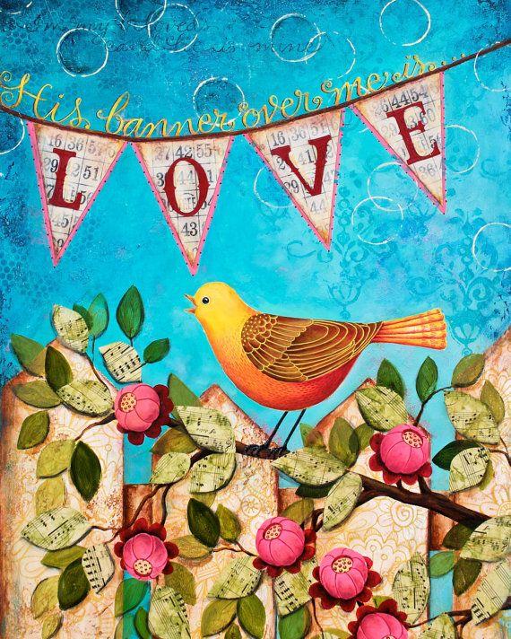 Banner of Love 8x10 Scripture MixedMedia Art by karladornacher, (Materials: archival inks, paper, bingo cards, sheet music, acrylic paint.)