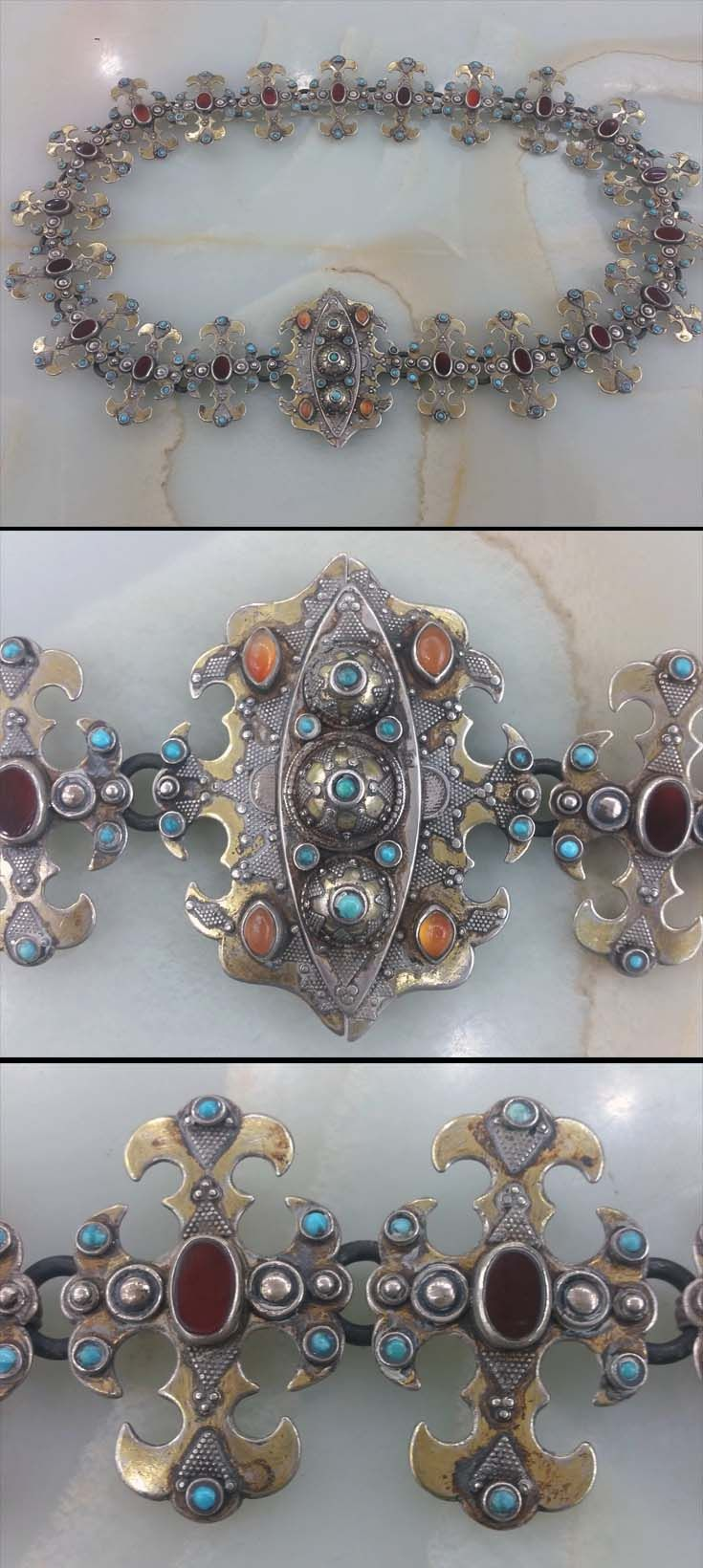 Kazakhstan | Belt; silver, partially gilded, carnelian and turquoise stones | ca. 1920s | 1'850$