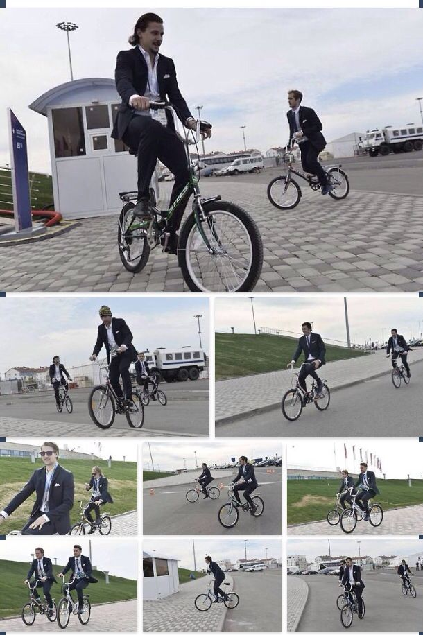 Sweden`s hockey team took the bikes to the stadium