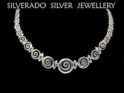 Sterling Silver 925 Ancient Greek Spiral Key Graduaded Necklace 42cm 16""