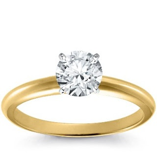 Gold Diamond Engagement Rings - Classic 18k Yellow Gold Ring