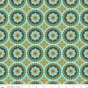 The Quilted Fish - La Vie Boheme - Medallion in Teal and Gold Sparkle