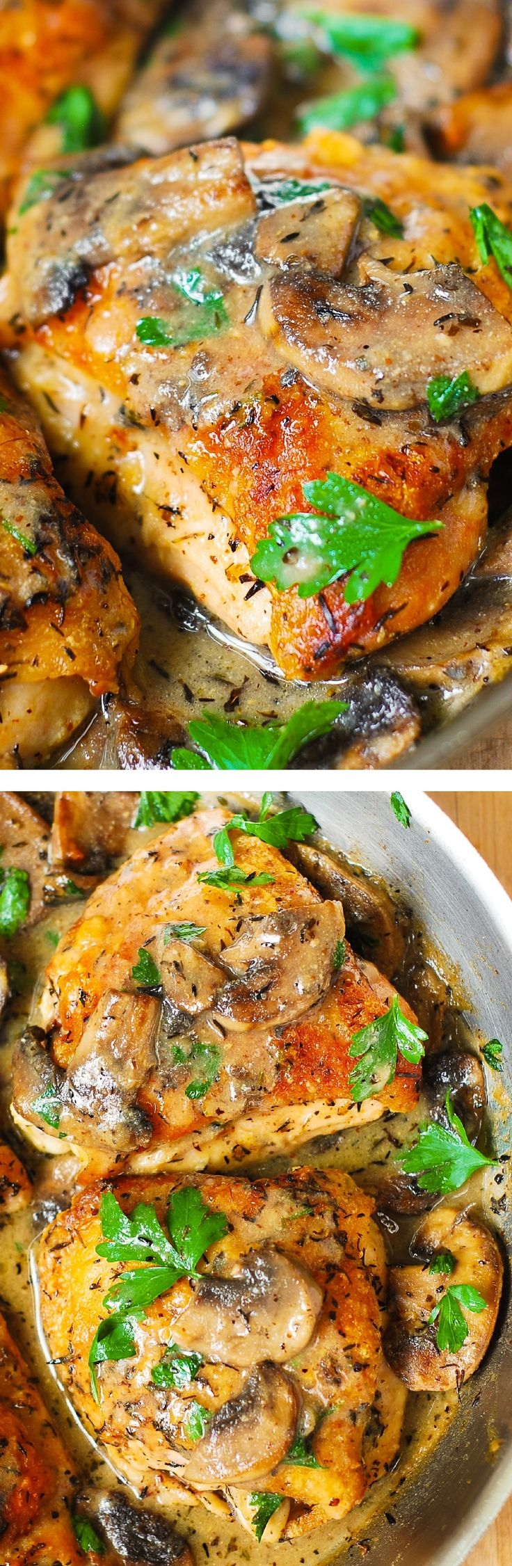 #SummerStartsNow Chicken and Mushrooms with a Creamy Herb Sauce - moist and tender chicken thighs with crispy skin! #BHG #sponsored