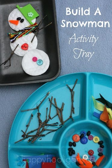 Build a snowman activity tray.  12 snowman crafts for kids | BabyCenter Blog