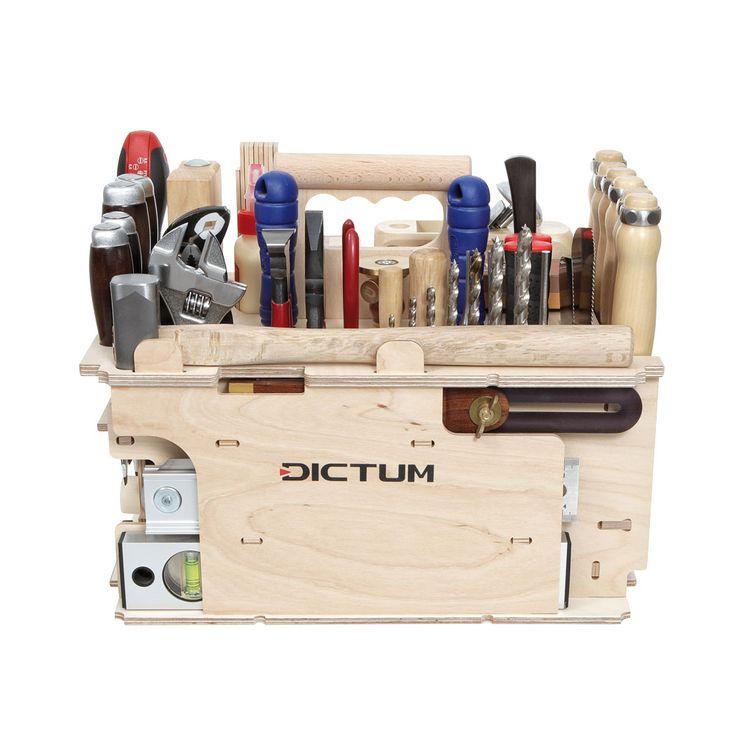 Ein Grundsortiment an Handwerkzeugen für alle Aufgaben rund um Schreinerei und Innenausbau. Dieser Träger bietet darüber hinaus in zwei Schubladen Platz für Kleinteile. Auf 62 Teile erweiterbar, siehe Nr.  718816 .  Der Werkzeugträger...