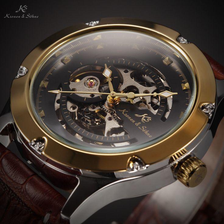 Ks Navigator <b>Mens</b> Classic <b>Skeleton Dial</b> Leather <b>Automatic</b> ...