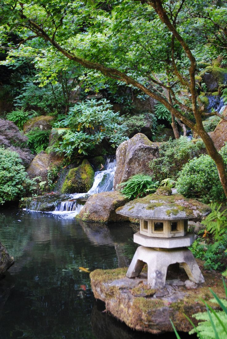 Japanese Gardens - by keeping a structure on a rock it prevents weeds from obliterating your focal point.