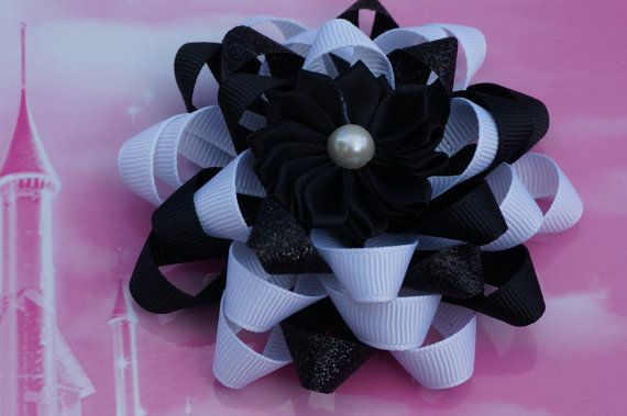 black  and white hair bow Black  and cream hair bow  by AmazinGems, $6.00