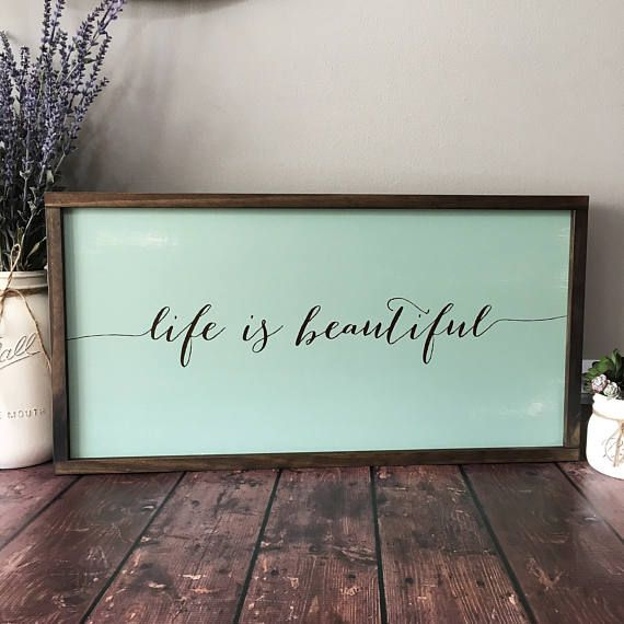 Life Is Beautiful Wooden Framed Sign Inspirational Sign Rustic Sign Framed Wooden Sign Positive Word Signs Distressed Sign Handcrafted Inspirational Signs Wooden Signs Distressed Signs