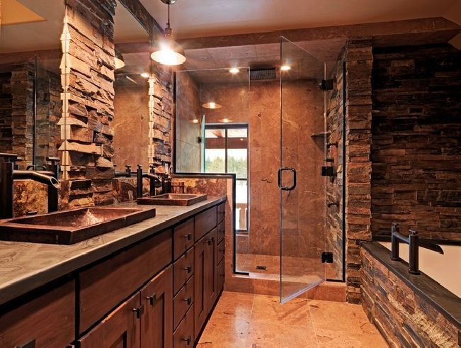 17 best ideas about rustic bathrooms on pinterest rustic for Bathroom designs rustic