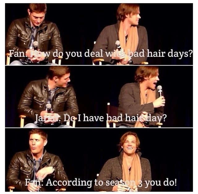 A fan asks about Jared's hair during the filming of season 3 of Supernatural.