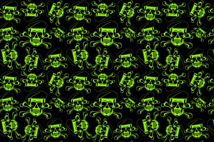 """Green Beret Skulls Infused on 12""""x 8"""" x .080"""" Zombie Green Kydex"""