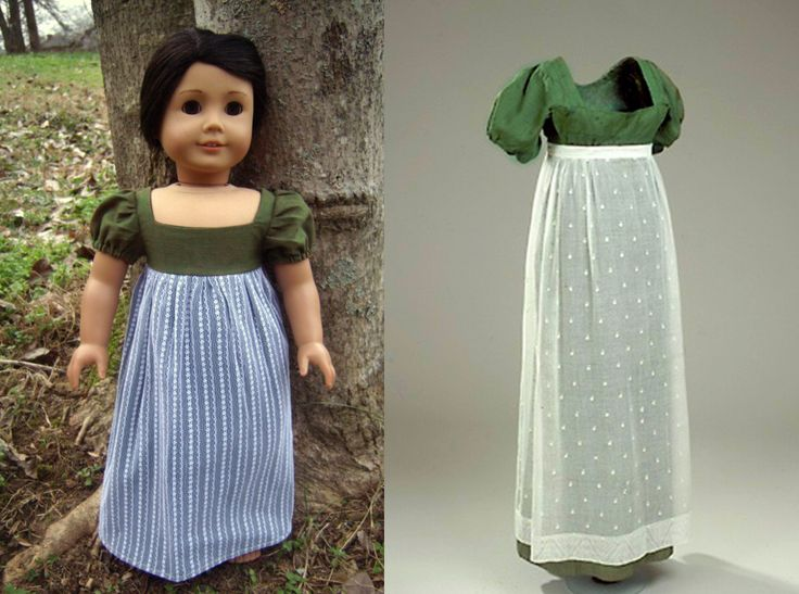 1805 Green Linen & White Lace Regency Dress (Replica of Antique Dress) for American Girl Dolls - by Morgan May @ Stardust Dolls