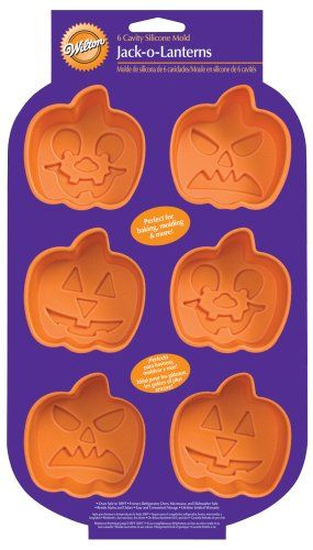 Halloween Cake & Cupcake Ideas & Supplies. Wilton Pumpkin Faces 6 Cavity Silicone Mold
