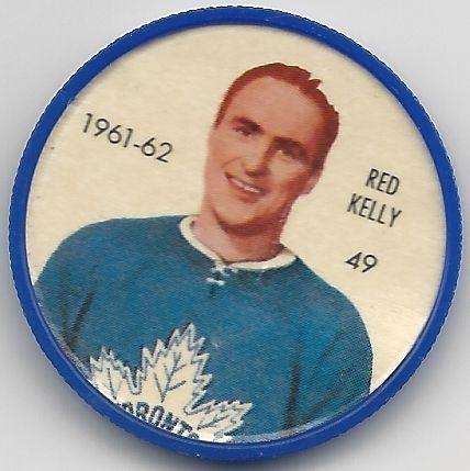 1961-62 Red Kelly Toronto Maple Leafs Shirriff Hockey Coin # 49 NM-MT