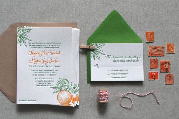 Florida-Inspired Citrus Letterpress Wedding Invites. Love the colors and design!