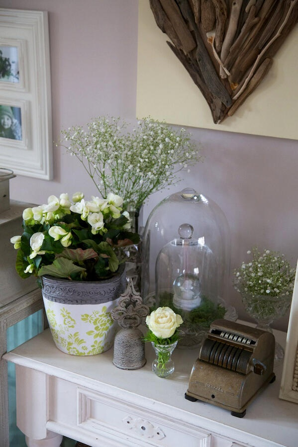 Green living room display. Love the cloche inside of a cloche!