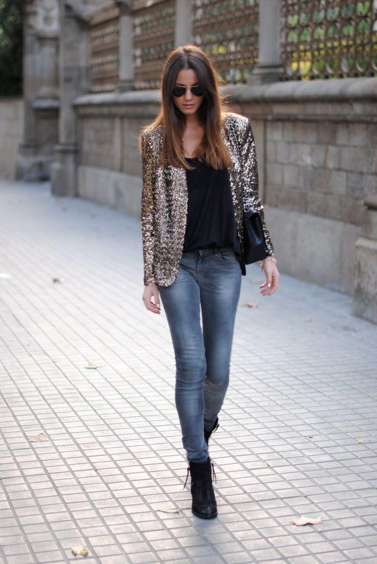 Sequin blazer and darker jeans!
