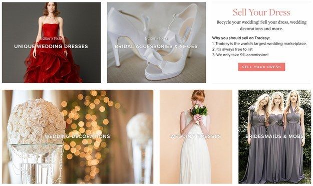 Wedding Tip - Resell as much as you can. There are tons of sites where you can resell everything from your dress to your decor, like Tradesey, Ruffled Blog, and Event Leftovers. Some brides have even used Facebook to unload all of their surplus supplies. These are also great places to find inexpensive and unique items.