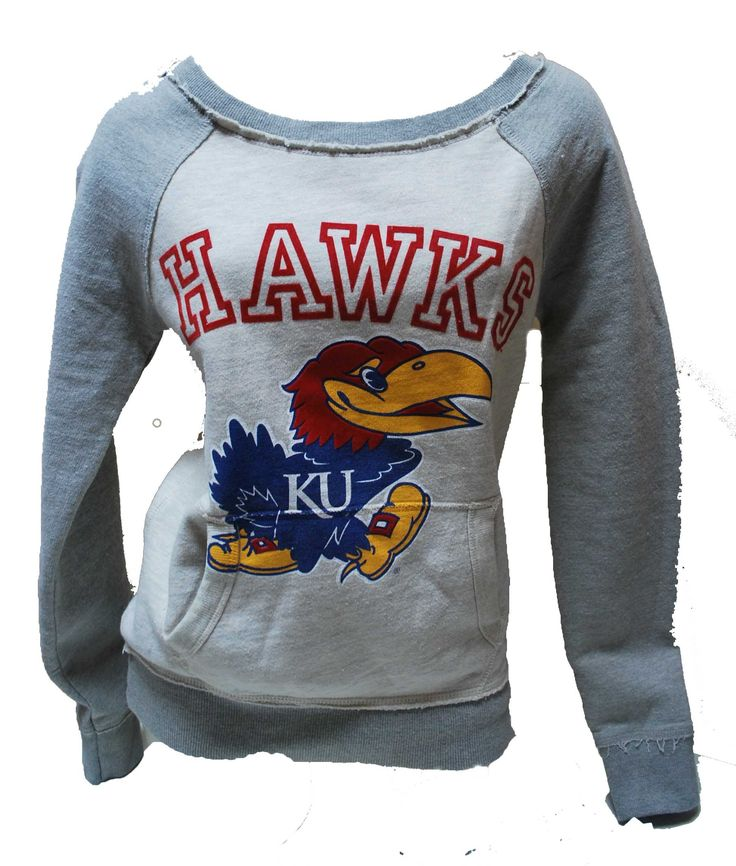 Women's KU Jayhawks Heather Grey Vintage Boat Neck Sweatshirt