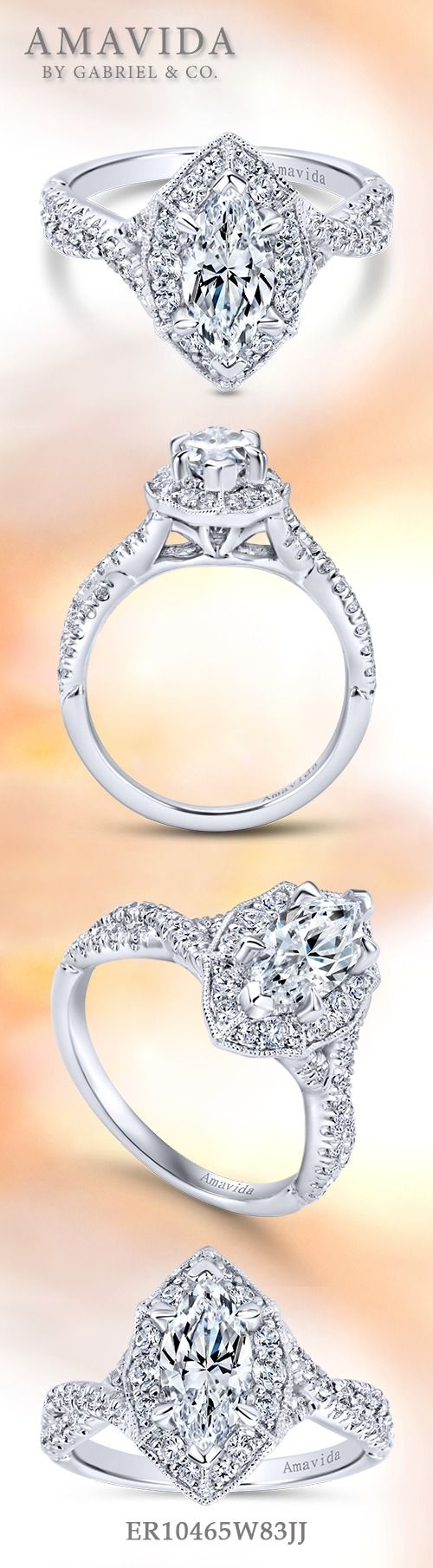 AMAVIDA by Gabriel & Co.-Voted #1 Most Preferred Fine Jewelry and Bridal Brand. 18k White Gold Marquise Halo  Engagement Ring