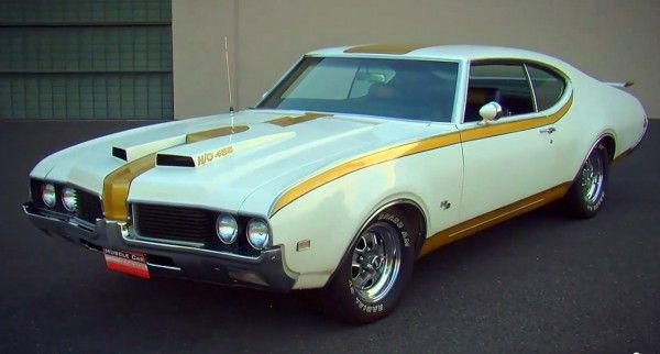 1969 Oldsmobile – Hurst Limited Edition. General Motors had a 400 cubic inch V8 size limit that they were using it for any of their mid-size family sedans up until 1970.