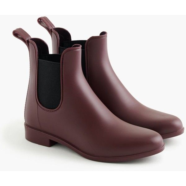 J.Crew Matte Chelsea Rain Boots (€77) ❤ liked on Polyvore featuring shoes, boots, wellies boots, j.crew boots, rubber boots, low heel boots and j crew shoes