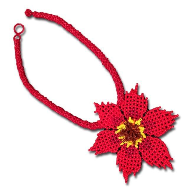 Embera Red Flower Choker Necklace