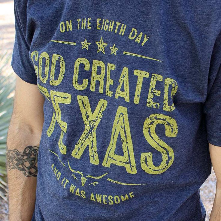 """God Created Texas"" - Navy Denim Texas TShirt for Men ~ Inspired by creation ~ This ultra-soft, vintage-style Texas t-shirt is stylish, rustic and athletically cut ~ a fantastic Texas gift idea for him (or her)."