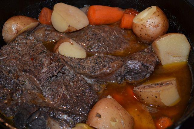 Dutch oven Pot Roast with Using Chuck Roast from Averiett Branch Farm grassfed beef.