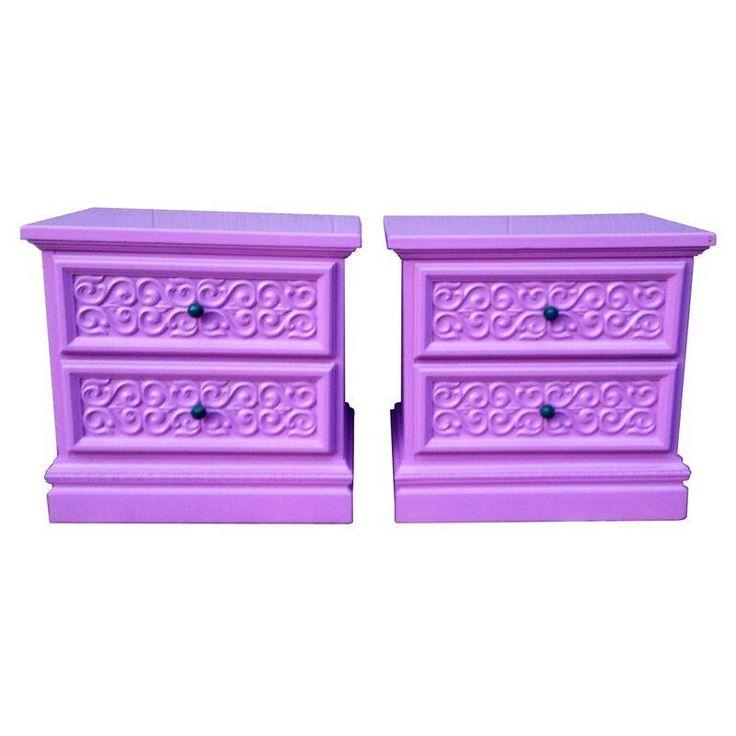 Vintage Purple Nightstands - A Pair - $625 Est. Retail - $575 on Chairish.com