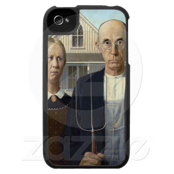 Gótico americano por la madera de Grant DeVolson iPhone 4 Cárcasas de Zazzle.es