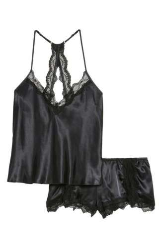 767a7d553 NWT IN BLOOM BY JONQUIL Satin Short Pajamas Set 5394635 BLACK L ...