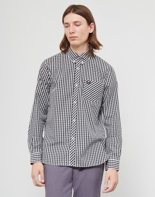 Fred Perry Made In England Long Sleeve Gingham Shirt Black & White #StyleMadeEasy