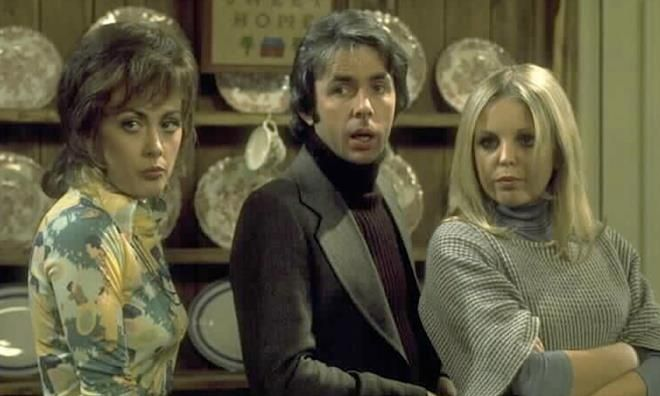 Paula Wilcox, Richard O'Sullivan and Sally Thomsett in Man About The House. Thames TV 1974