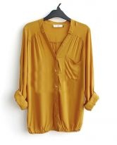Yellow V-neck Long Sleeve Pocket Elastic-Hem Blouse $31 SheInside