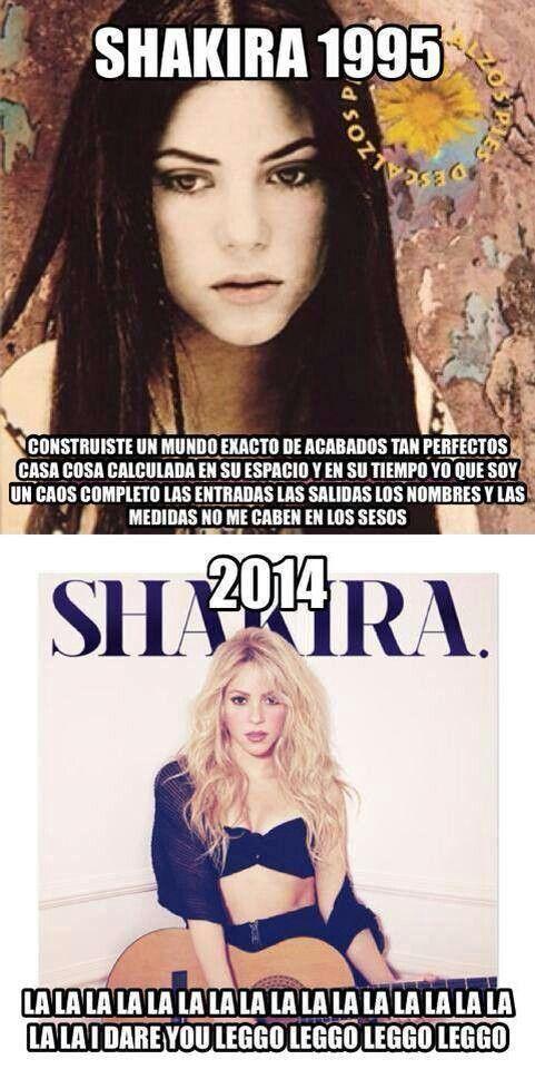 Shakira 1995, medidas no me caben en los pesos, and Shakira 2014, lala I dare you, leg, Buzzfeed should get their hands on this...